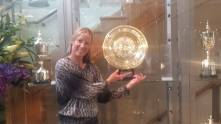 Our Champion Sarah with Ladies Trophy at Wimbledon